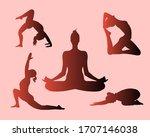 yoga poses silhouette set.... | Shutterstock .eps vector #1707146038