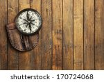 Old Compass On Wooden...