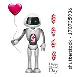 valentine's day. robot with... | Shutterstock .eps vector #170735936
