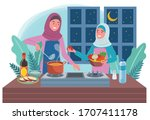 a muslim woman is cooking... | Shutterstock .eps vector #1707411178