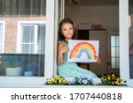 girl child sitting and looking... | Shutterstock . vector #1707440818