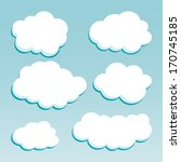 cartoon white clouds on blue... | Shutterstock .eps vector #170745185