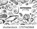 keto diet vector drawing.... | Shutterstock .eps vector #1707465868