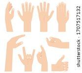 hand gestures. flat vector... | Shutterstock .eps vector #1707517132