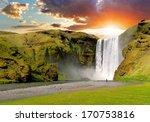Famous Waterfall Skogafoss In...
