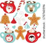 hot chocolate  christmas  | Shutterstock .eps vector #170760596
