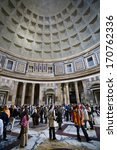 Small photo of ROME - APRIL 13: The interior of the Pantheon on April 13, 2008 in Rome, Italy. Built by Agrippa on 27 BC was a temple for all the gods of ancient Rome. It is a Christian church from 609.