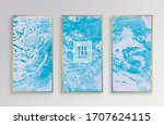 Set Of Blue Oil Textures With...