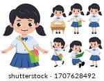 school girl student character...   Shutterstock .eps vector #1707628492