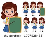 school girl character vector... | Shutterstock .eps vector #1707628495