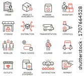 vector set of linear icons... | Shutterstock .eps vector #1707664528