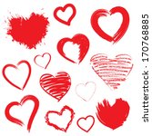 vector hearts set. hand drawn. | Shutterstock .eps vector #170768885