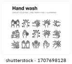 hand wash icons set  pixel... | Shutterstock .eps vector #1707698128
