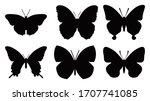 butterflies silhouettes set ... | Shutterstock .eps vector #1707741085