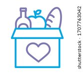 donations urn with groceries... | Shutterstock .eps vector #1707763042