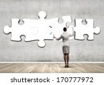 rear view of businesswoman... | Shutterstock . vector #170777972