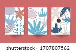 organic shapes posters with... | Shutterstock .eps vector #1707807562