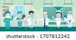group of 6 doctor team senior... | Shutterstock .eps vector #1707812242