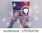 hacker attack concept. woman... | Shutterstock . vector #1707814732