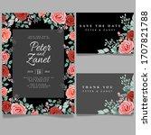 floral wedding card event... | Shutterstock .eps vector #1707821788