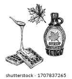 waffles with maple syrup. set... | Shutterstock .eps vector #1707837265