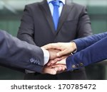 businesspeople hands on top of... | Shutterstock . vector #170785472
