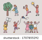 various children's actions to... | Shutterstock .eps vector #1707855292