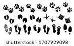 dog  cat and human paw print... | Shutterstock .eps vector #1707929098