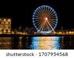 Colorfull Ferris Wheel At Night