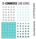 online shopping vector line... | Shutterstock .eps vector #1707955345
