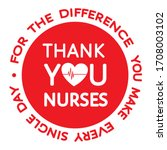 thank you nurses red round... | Shutterstock .eps vector #1708003102