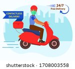 online home delivery concept.... | Shutterstock .eps vector #1708003558