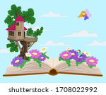 world from a book. elven house  ...   Shutterstock .eps vector #1708022992