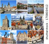 collage of landmarks of prague. ... | Shutterstock . vector #170803412