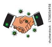 virus spreads through handshake.... | Shutterstock .eps vector #1708056958