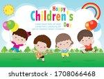 happy children's day poster...   Shutterstock .eps vector #1708066468