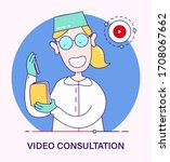 doctor scientist gives remote... | Shutterstock .eps vector #1708067662