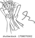 creating a gift bouquet step... | Shutterstock .eps vector #1708070302