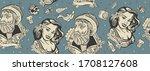 sea adventure seamless pattern. ... | Shutterstock .eps vector #1708127608