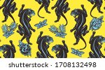 black panthers and flowers... | Shutterstock .eps vector #1708132498