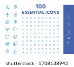 100 essential icon set eps | Shutterstock .eps vector #1708138942