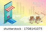 shopping online on mobile phone ...   Shutterstock .eps vector #1708141075