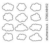 clouds line art icon. storage... | Shutterstock .eps vector #1708148452