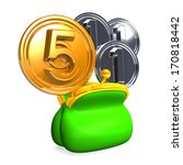 opened purse with 5 3 coins. 3d ... | Shutterstock . vector #170818442