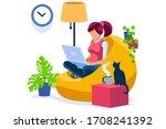 trendy homes studio at woman... | Shutterstock .eps vector #1708241392