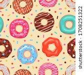 donuts seamless pattern.... | Shutterstock .eps vector #1708251322