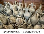 Greek Amphorae In Ancient Town...