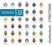 women icons set. thirty three...   Shutterstock . vector #1708274068