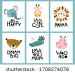 tropical collection. cute face... | Shutterstock .eps vector #1708276078