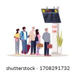 crowd in airport terminal lobby ...   Shutterstock .eps vector #1708291732